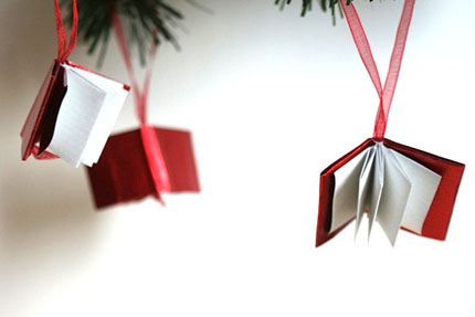 Etsy picks Christmas decor Origami miniture book ornaments Signoraluna